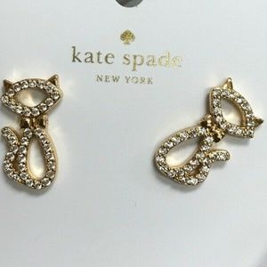 Jazz Things Up Cat Stud Earrings Brand New Gold To